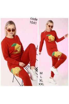 Kadın 2li Pamuklu Kumaş Baskılı Koyu Kırmızı Renk Eşofman Takımı
