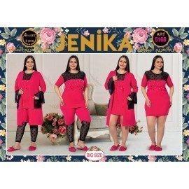 Jenika 5168 Büyük Beden 4 lü Pijama Takımı