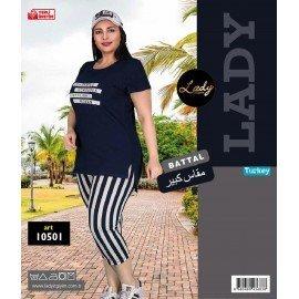 Lady 10501 Büyük Beden Pembe Renk ve  Desenli Kapri Pijama Takımı