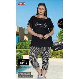 Lady 10519 Büyük Beden Siyah Renk ve  Desenli Kapri Pijama Takımı