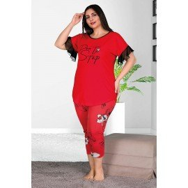 Lady 10535 Büyük Beden Kapri Pijama Takımı - Battal pijama Takımları