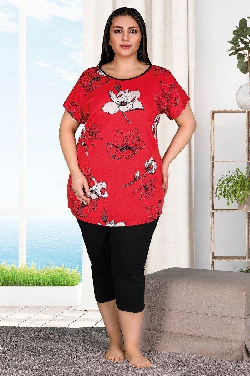 Lady 10536 Büyük Beden Kapri Pijama Takımı - Battal pijama Takımları