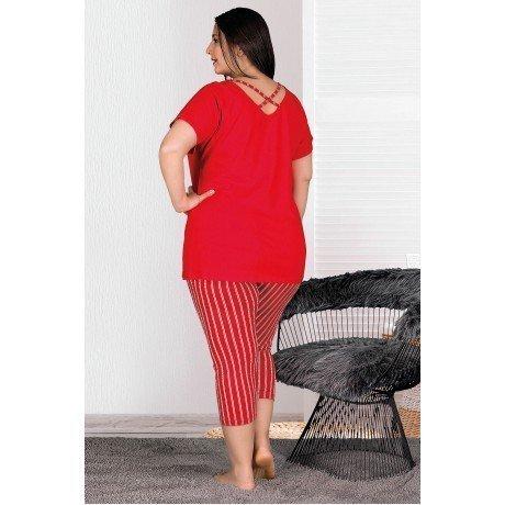 Lady 10538 Büyük Beden Kapri Pijama Takımı - Bayan Battal pijama Takımları