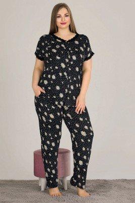 Lady 10810 Battal Boy Büyük Beden Kısa Kol Pijama Takımı