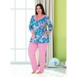 Lady 182 Battal Büyük Beden Uzun Kol Mevsimlik Pijama Takımı