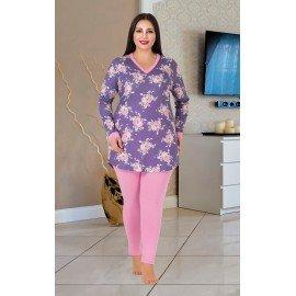 Lady 187 Battal (Büyük) Beden Uzun Kol Pijama Takımı