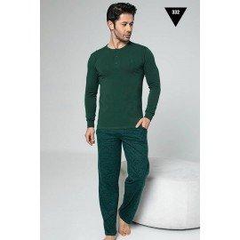 Pamuklu Kumaş Aydoğan Akare 332 Koyu Yeşil Renk Pijama Takımı - Uzun Kollu Erkek Pijama Takımı