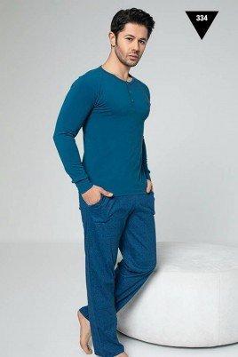 Pamuklu Kumaş Aydoğan Akare 334 Koyu Mavi Renk Pijama Takımı - Uzun Kollu Erkek Pijama Takımı