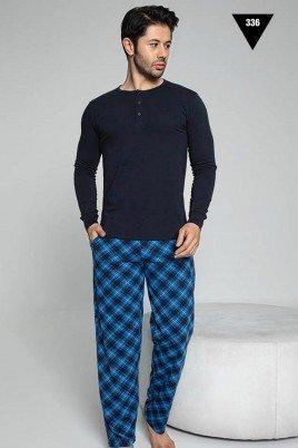 Pamuklu Kumaş Aydoğan Akare 336 Lacivert Renk Pijama Takımı - Uzun Kollu Erkek Pijama Takımı