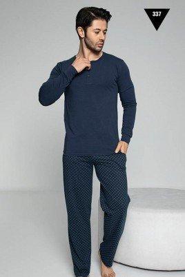 Pamuklu Kumaş Aydoğan Akare 337 Lacivert Renk Pijama Takımı - Uzun Kollu Erkek Pijama Takımı
