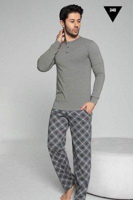 Pamuklu Kumaş Aydoğan Akare 340 Gri Renk Pijama Takımı - Uzun Kollu Erkek Pijama Takımı