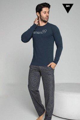 Pamuklu Kumaş Aydoğan Akare 341 Lacivert Renk Pijama Takımı - Uzun Kollu Erkek Pijama Takımı