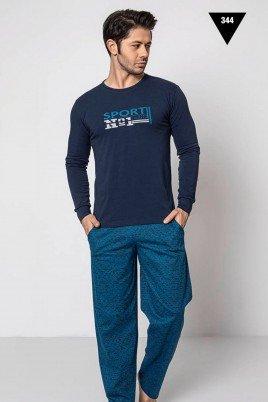 Pamuklu Kumaş Aydoğan Akare 344 Lacivert Renk Pijama Takımı - Uzun Kollu Erkek Pijama Takımı