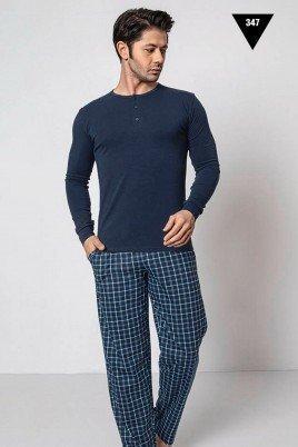 Pamuklu Kumaş Aydoğan Akare 347 Lacivert Renk Pijama Takımı - Uzun Kollu Erkek Pijama Takımı