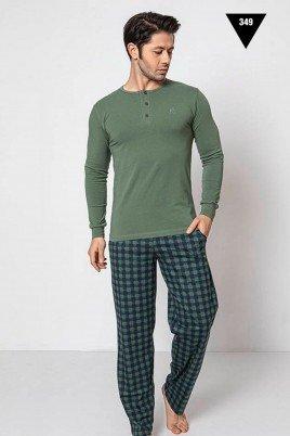 Pamuklu Kumaş Aydoğan Akare 349 Yeşil Renk Pijama Takımı - Uzun Kollu Erkek Pijama Takımı