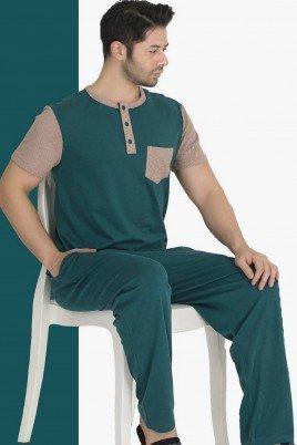 Modal Kumaş Teknur 30690 Yeşil Renk Kısa Kollu Pijama Takımı