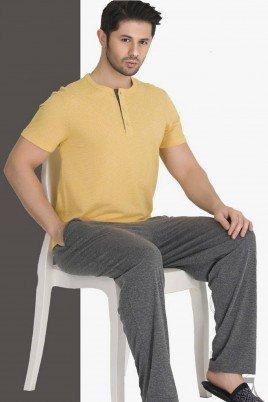 Modal Kumaş Teknur 30693 Sarı - Antrasit Renk Kısa Kollu Pijama Takımı