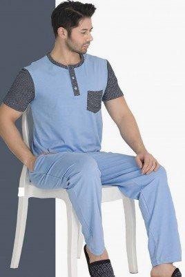Modal Kumaş Teknur 30694 Açık Mavi Renk Kısa Kollu Pijama Takımı