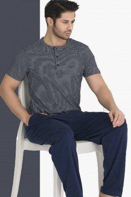 Modal Kumaş Teknur 30695 Gri - Lacivert Renk Kısa Kollu Pijama Takımı