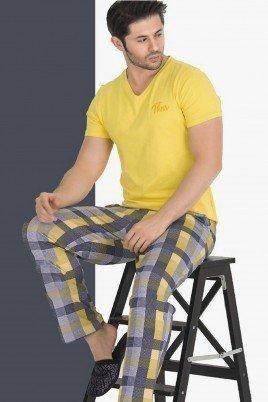 Modal Kumaş Teknur 30806 Sarı Renk Kısa Kollu Pijama Takımı