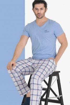 Modal Kumaş Teknur 30807 Açık Mavi Renk Kısa Kollu Pijama Takımı