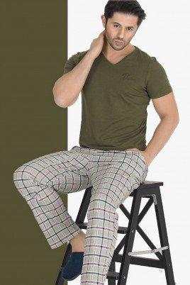 Modal Kumaş Teknur 30815 Haki Yeşil Renk Kısa Kollu Pijama Takımı