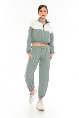Kadın Cepli Beyaz Detaylı Renk Seçenekli Uzun Kol Pijama & Eşofman Takımı - Bayan Eşofman Takımı