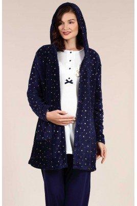 BAHA 4001 Lohusa Pijama Takımı - Renk Seçenekli Haluk Bayram Welsoft Sabahlıklı Hamile Pijaması