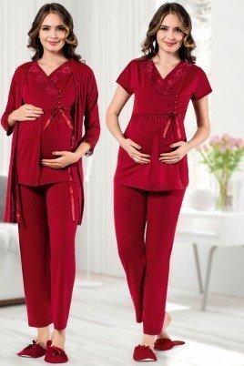 Kadın Bordo Sabahlıklı Lohusa Pijama Takımı Jenika 42539 - Jenika 3lü Kadın Sabahlıklı Hamile Pijaması