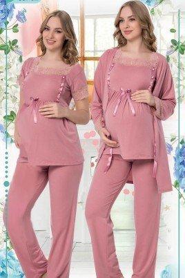 Kadın Gül Kurusu Sabahlıklı Lohusa Pijama Takımı Jenika 35702 - Jenika 3lü Kadın Sabahlıklı Hamile Pijaması