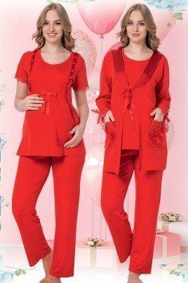 Kadın Kırmızı Sabahlıklı Lohusa Pijama Takımı Jenika 42539 - Jenika 3lü Kadın Sabahlıklı Hamile Pijaması