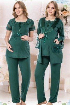 Kadın Yeşil Sabahlıklı Lohusa Pijama Takımı Jenika 42539 - Jenika 3lü Kadın Sabahlıklı Hamile Pijaması