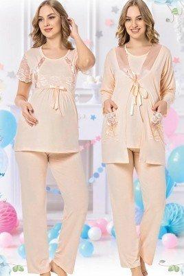 Kadın Krem Sabahlıklı Lohusa Pijama Takımı Jenika 42539 - Jenika 3lü Kadın Sabahlıklı Hamile Pijaması