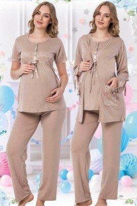 Kadın Bej Sabahlıklı Lohusa Pijama Takımı Jenika 42539 - Jenika 3lü Kadın Sabahlıklı Hamile Pijaması