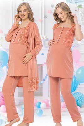 Kadın Turuncu Sabahlıklı Lohusa Pijama Takımı Jenika 42539 - Jenika 3lü Kadın Sabahlıklı Hamile Pijaması