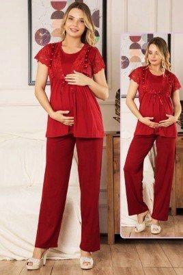 Kadın Bordo Lohusa Pijama Takımı Jenika 40654 - Jenika 2 li Kadın Hamile Pijaması