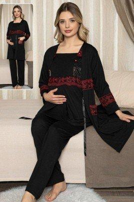 Kadın Siyah Sabahlıklı Lohusa Pijama Takımı Jenika 47091 - Jenika 3lü Kadın Sabahlıklı Hamile Pijaması