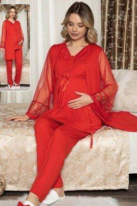 Kadın Siyah Sabahlıklı Lohusa Pijama Takımı Jenika 47103 - Jenika 3lü Kadın Sabahlıklı Hamile Pijaması