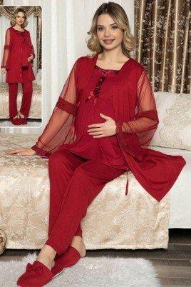 Kadın Siyah Sabahlıklı Lohusa Pijama Takımı Jenika 47104 - Jenika 3lü Kadın Sabahlıklı Hamile Pijaması