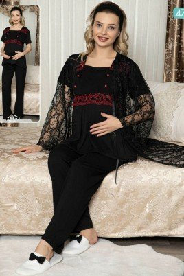 Kadın Siyah Sabahlıklı Lohusa Pijama Takımı Jenika 47123 - Jenika 3lü Kadın Sabahlıklı Hamile Pijaması