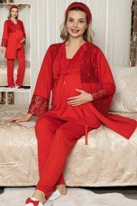 Kadın Siyah Sabahlıklı Lohusa Pijama Takımı Jenika 47156 - Jenika 3lü Kadın Sabahlıklı Hamile Pijaması