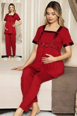 Kadın Bordo Lohusa Pijama Takımı Jenika 47187 - Jenika 2 li Kadın Hamile Pijaması