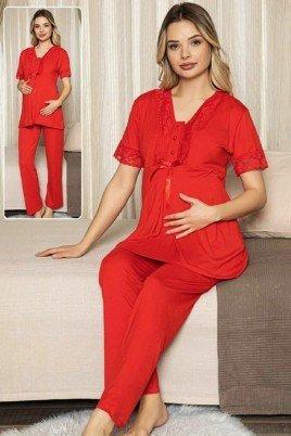 Kadın Kırmızı Lohusa Pijama Takımı Jenika 47191 - Jenika 2 li Kadın Hamile Pijaması