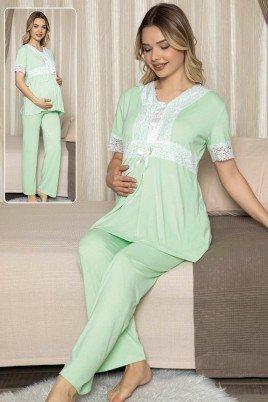 Kadın Açık Yeşil Sabahlıklı Lohusa Pijama Takımı Jenika 47076 - Jenika 3lü Kadın Sabahlıklı Hamile Pijaması
