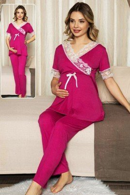 Kadın Fuşya Lohusa Pijama Takımı Jenika 47194 - Jenika 2 li Kadın Hamile Pijaması