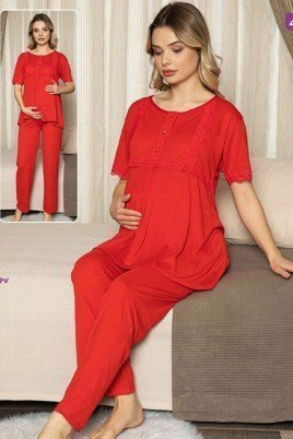 Kadın Kırmızı Lohusa Pijama Takımı Jenika 47202 - Jenika 2 li Kadın Hamile Pijaması