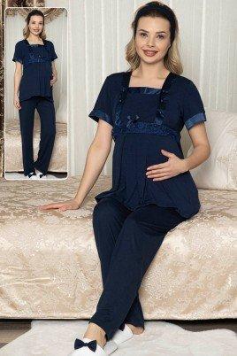 Kadın Lacivert Lohusa Pijama Takımı Jenika 47250 - Jenika 2 li Kadın Hamile Pijaması