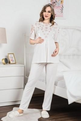 Erdeniz 1103 Hamile Pijama Takımı - 2'li Set Lohusa Pijaması
