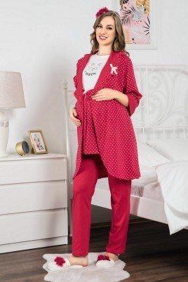 Erdeniz 3317 Hamile Pijama Takımı - 3'lü Set Lohusa Pijaması