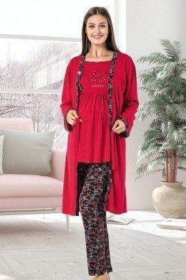Erdeniz 3U350 Hamile Pijama Takımı - 3'lü Set Lohusa Pijaması